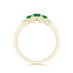 Toggle Vintage Style Three Stone Emerald Wedding Band