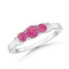 Vintage Style Three Stone Pink Sapphire Wedding Band