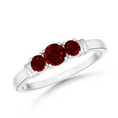Vintage Style Three Stone Ruby Wedding Band