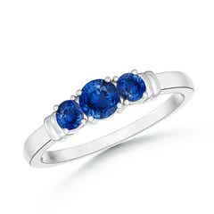 Vintage Style Three Stone Sapphire Wedding Band