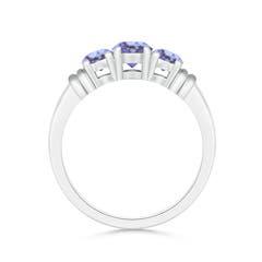 Vintage Style Three Stone Tanzanite Wedding Ring