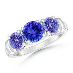 Vintage Style Three Stone Tanzanite Wedding Band
