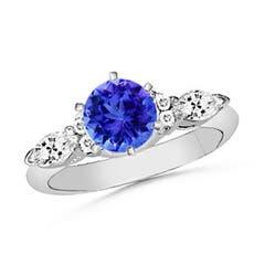 Round Tanzanite and Marquise Diamond Three Stone Ring