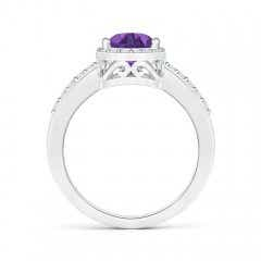 Toggle Pear Amethyst Ring with Diamond Halo