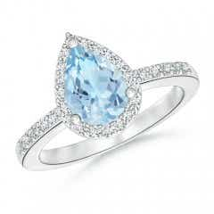 Pear Aquamarine Ring with Diamond Halo