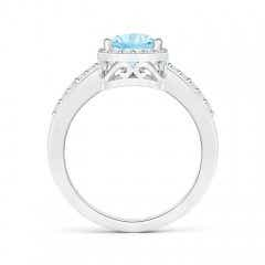Toggle Pear Aquamarine Ring with Diamond Halo