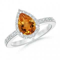 Pear Citrine Ring with Diamond Halo