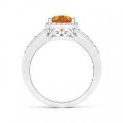 Toggle Pear Citrine Ring with Diamond Halo