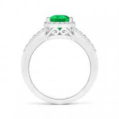 Toggle Pear Emerald Ring with Diamond Halo