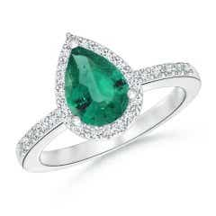 GIA Certified Pear Emerald Ring with Diamond Halo