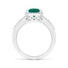 Toggle GIA Certified Pear Emerald Ring with Diamond Halo