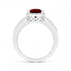 Toggle Pear Garnet Ring with Diamond Halo