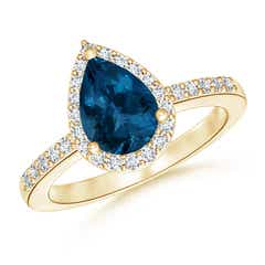 Pear Shaped London Blue Topaz Ring with Diamond Halo