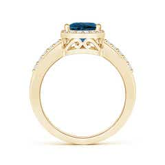 Toggle Pear London Blue Topaz Ring with Diamond Halo