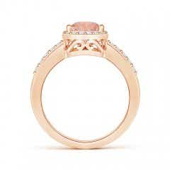 Toggle Pear Morganite Ring with Diamond Halo