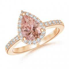Pear Morganite Ring with Diamond Halo