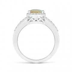 Toggle Pear Opal Ring with Diamond Halo