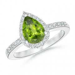 Pear Peridot Ring with Diamond Halo