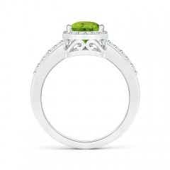 Toggle Pear Peridot Ring with Diamond Halo