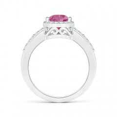 Toggle Pear Pink Tourmaline Ring with Diamond Halo
