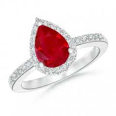 Pear Ruby Ring with Diamond Halo