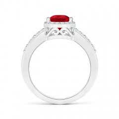Toggle Pear Ruby Ring with Diamond Halo