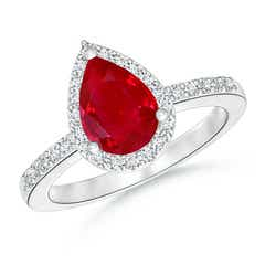 Pear Shaped Ruby Engagement Ring with Diamond Halo