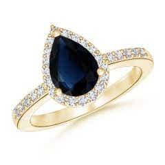 GIA Certified Pear Sapphire Ring with Diamond Halo