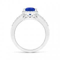 Toggle Pear Tanzanite Ring with Diamond Halo