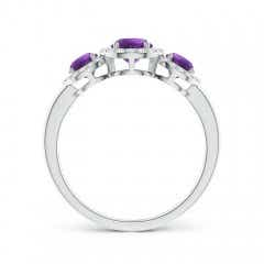 Toggle Round Amethyst Three Stone Halo Ring with Diamonds