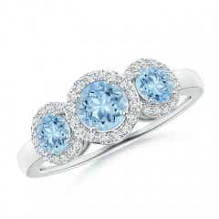 Round Aquamarine Three Stone Halo Ring with Diamonds