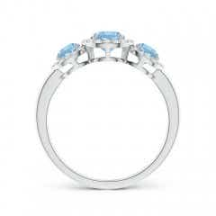 Toggle Round Aquamarine Three Stone Halo Ring with Diamonds
