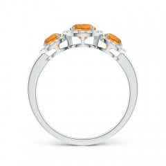 Toggle Round Citrine Three Stone Halo Ring with Diamonds