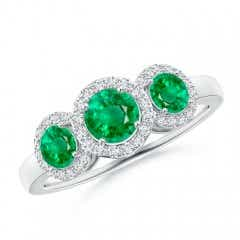 Three Stone Emerald Halo Ring With Diamond Border