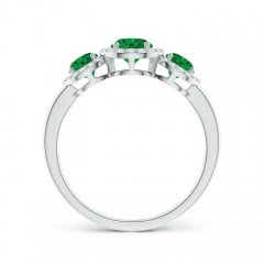 Toggle Round Emerald Three Stone Halo Ring with Diamonds