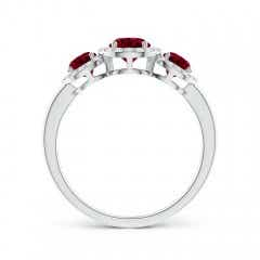 Toggle Round Garnet Three Stone Halo Ring with Diamonds
