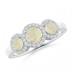 Round Opal Three Stone Halo Ring with Diamonds