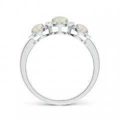 Toggle Round Opal Three Stone Halo Ring with Diamonds
