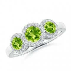 Round Peridot Three Stone Halo Ring with Diamonds