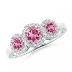 Round Pink Tourmaline Three Stone Halo Ring with Diamonds