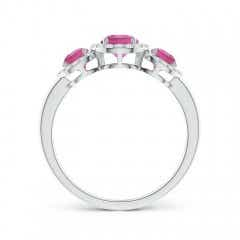 Toggle Round Pink Tourmaline Three Stone Halo Ring with Diamonds