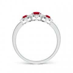 Toggle Round Ruby Three Stone Halo Ring with Diamonds