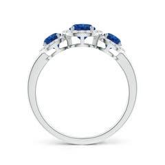 Three Stone Blue Sapphire Halo Ring With Diamond Border