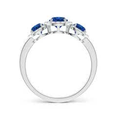 Toggle Round Sapphire Three Stone Halo Ring with Diamonds