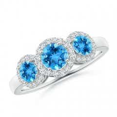 Round Swiss Blue Topaz Three Stone Halo Ring with Diamonds