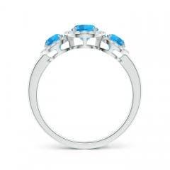 Toggle Round Swiss Blue Topaz Three Stone Halo Ring with Diamonds