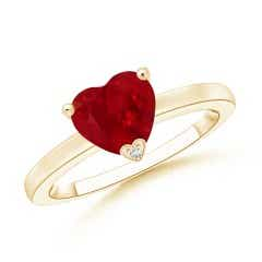 Solitaire Heart Shaped Ruby Promise Ring