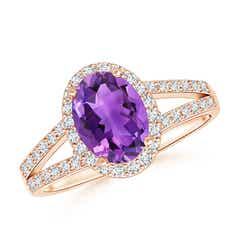 Oval Amethyst Split Shank Halo Ring