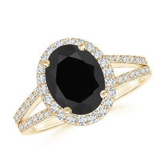 Angara Round Black Onyx Split Shank Ring with Diamond Halo