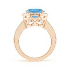 Toggle GIA Certified Oval Sky Blue Topaz Split Shank Halo Ring